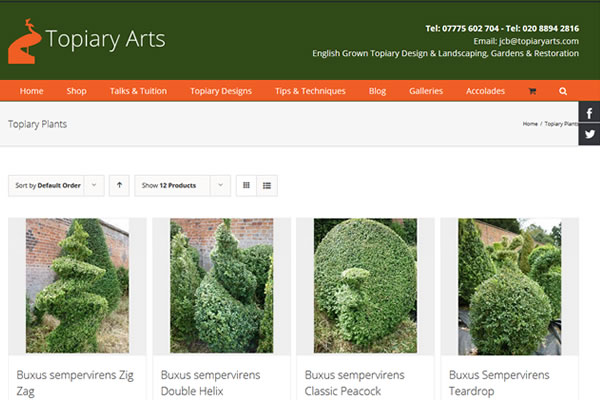 Website Design for Topiary Garden Designer